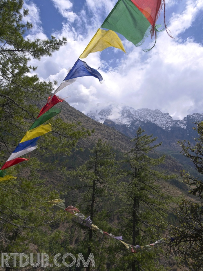 Nepal-Prayer Flag and Peaks-HDR
